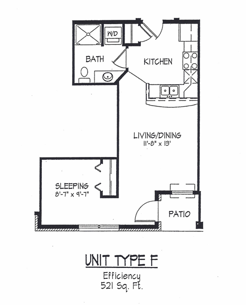 Cortland commons floor plans rouse management Efficiency apartment floor plan
