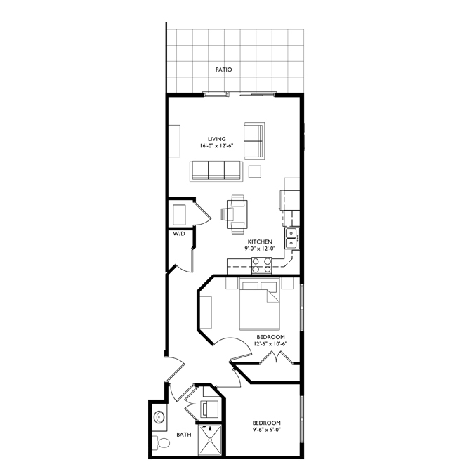 The Monroe 2 Bedroom - Unit A