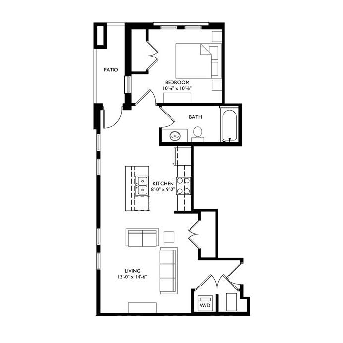 The Monroe 1 Bedroom - Unit E