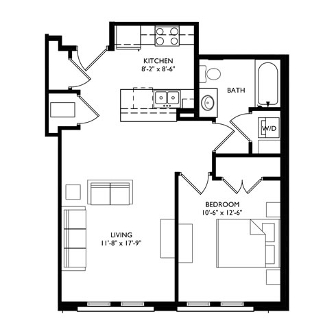 The Monroe 1 Bedroom - Unit F