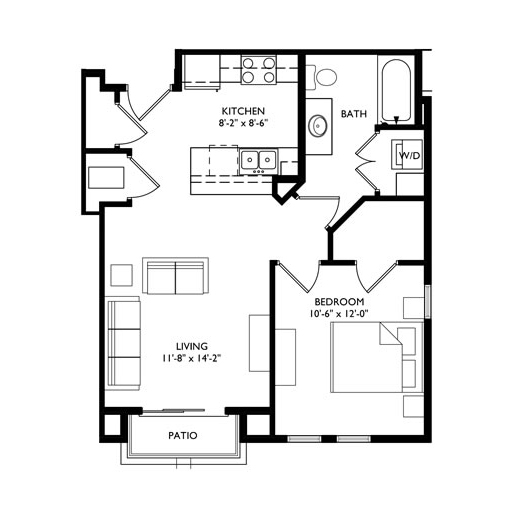 The Monroe 1 Bedroom - Unit F1