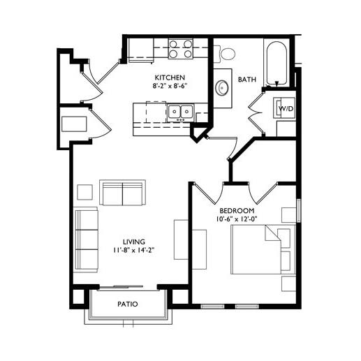 The Monroe 1 Bedroom - Unit F1