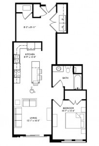 The Monroe 1 Bedroom - Unit G