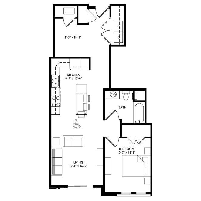 The Monroe 1 Bedroom - Unit G
