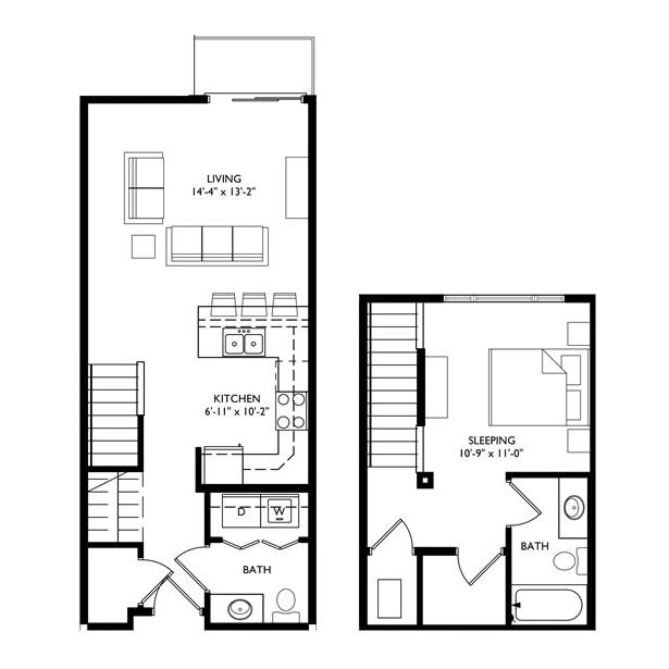 The Monroe 1 Bedroom - Unit L