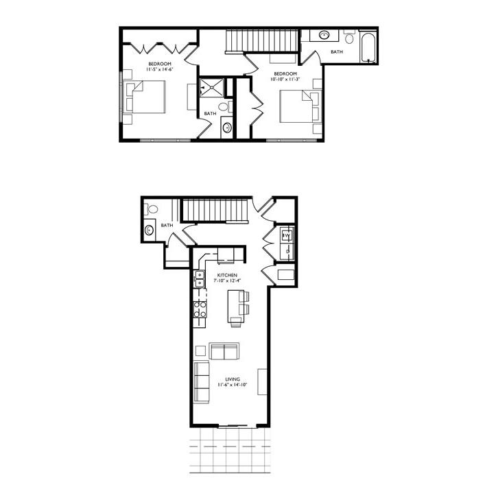 The Monroe 2 Bedroom Townhouse - Unit P