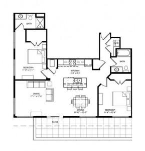 The Monroe 2 Bedroom - Unit R