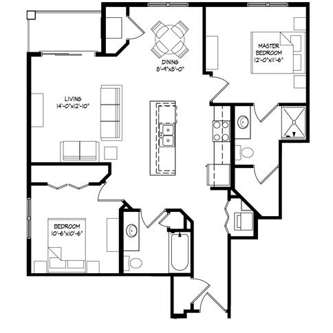 Parman Place 2 Bedroom - Unit Style A