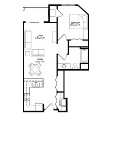 Parman Place 1 Bedroom - Unit Style C