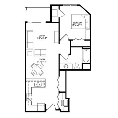 Parman Place 1 Bedroom - Unit Style C