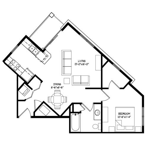Parman Place 1 Bedroom - Unit Style D
