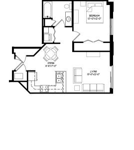 Parman Place 1 Bedroom - Unit Style E