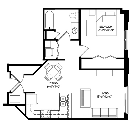 Parman Place 1 Bedroom - Unit Style E
