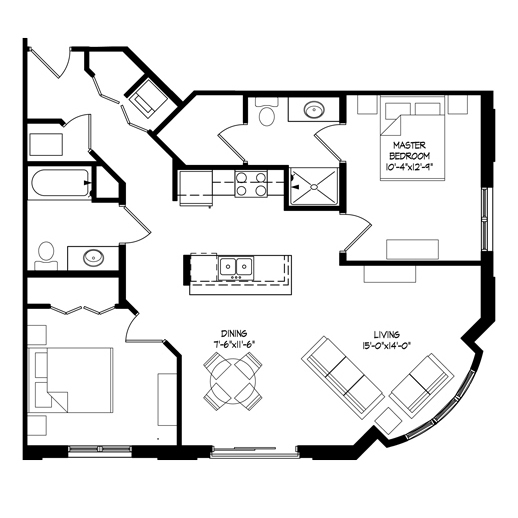 Parman Place 2 Bedroom - Unit Style F
