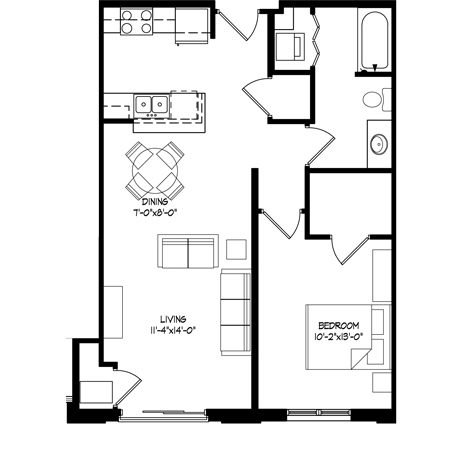 Parman Place 1 Bedroom - Unit Style G