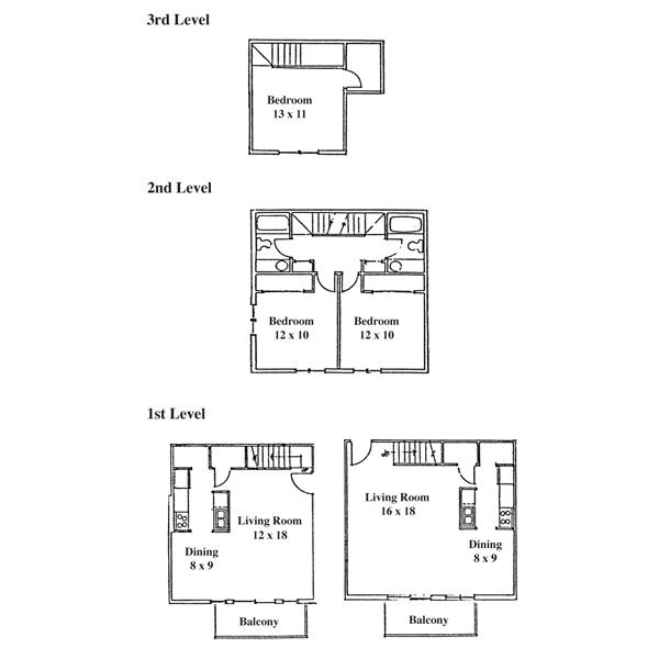 Springbrook Row 3 Bedroom - 3 Level Townhouse