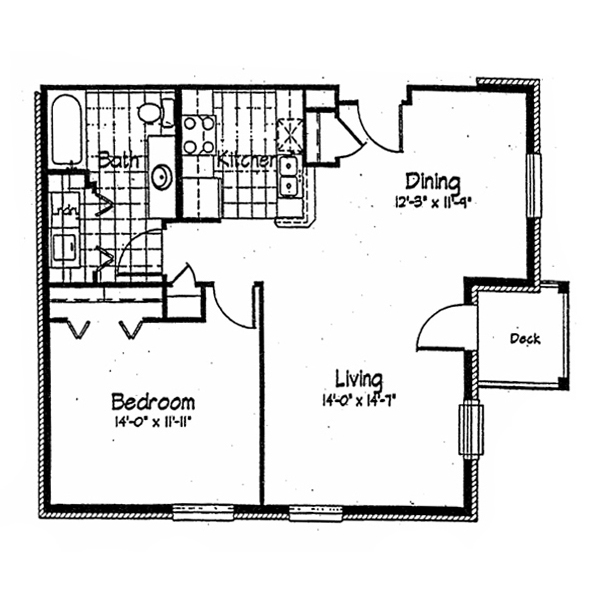 Cortland Pond 1 Bedroom - Unit A