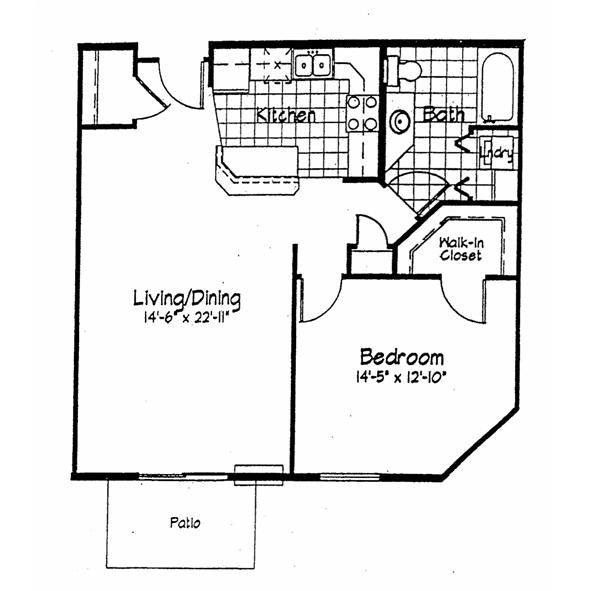 Cortland Pond 1 Bedroom - Unit D 851 sq ft