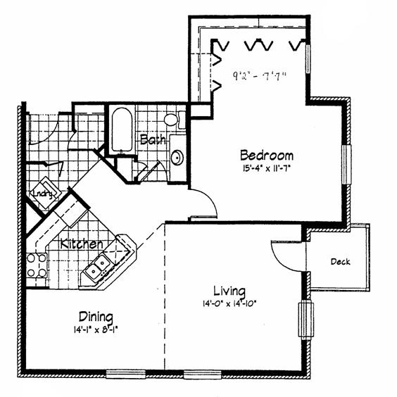 Cortland Pond 1 Bedroom - Unit E 963 sq ft