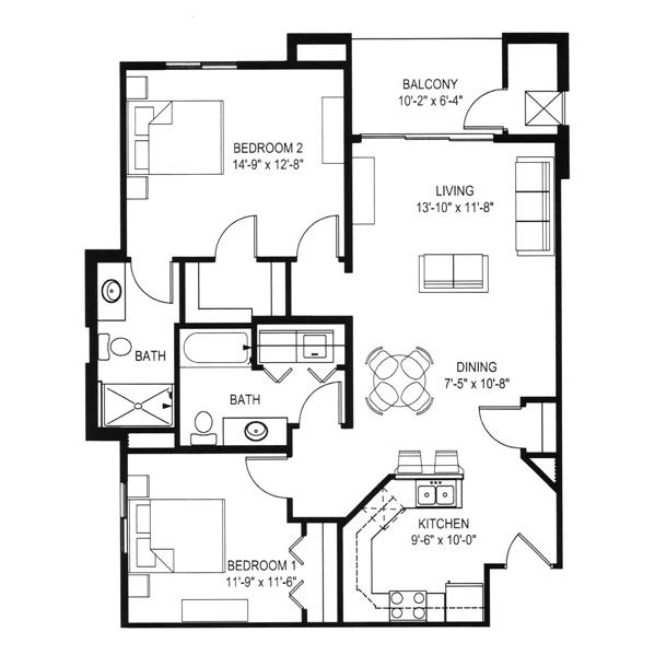 Hawks Landing 1 Bedroom - Building D Unit A