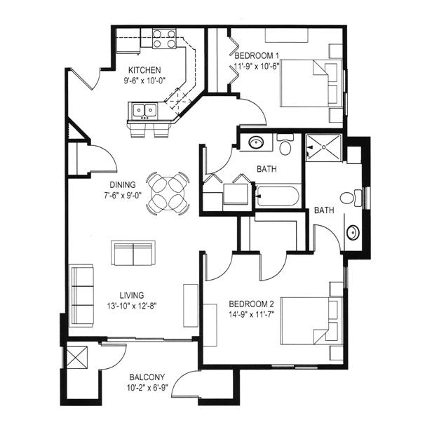 Hawks Landing 2 Bedroom - Building D Unit A1