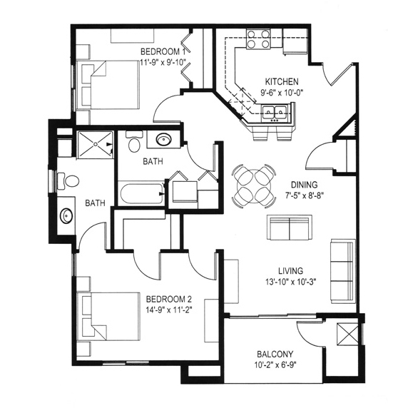Hawks Landing 2 Bedroom - Building D Unit A2
