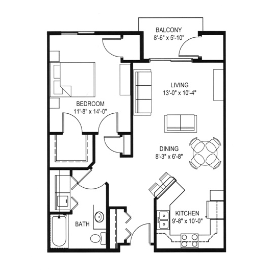 Hawks Landing 1 Bedroom - Building D Unit C