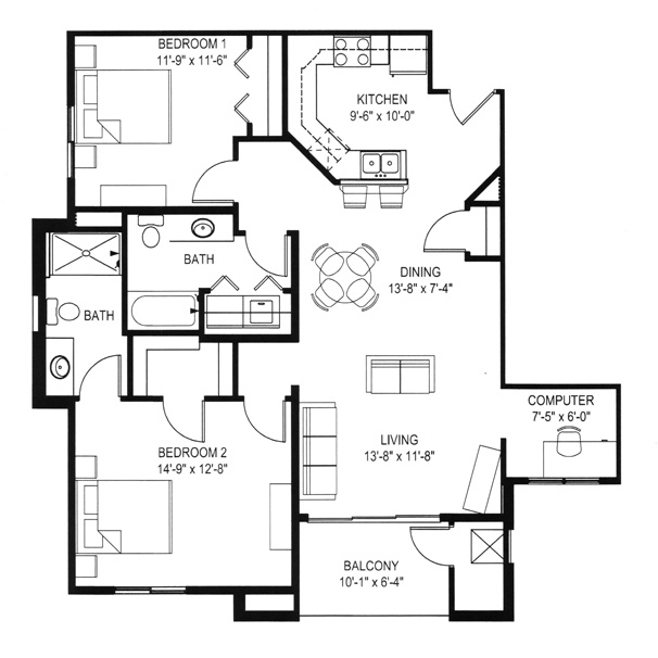 Hawks Landing 2 Bedroom - Building D Unit E