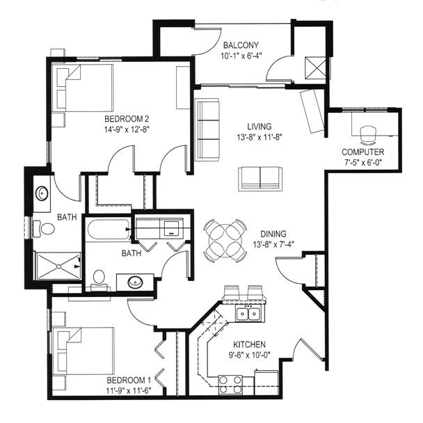 Hawks Landing 2 Bedroom - Building D Unit G