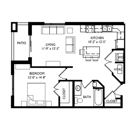 Capitol's Edge Apartments 1 Bedroom - Unit Type A