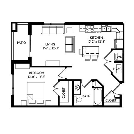 Capitol's Edge Apartments 1 Bedroom - Unit Type A