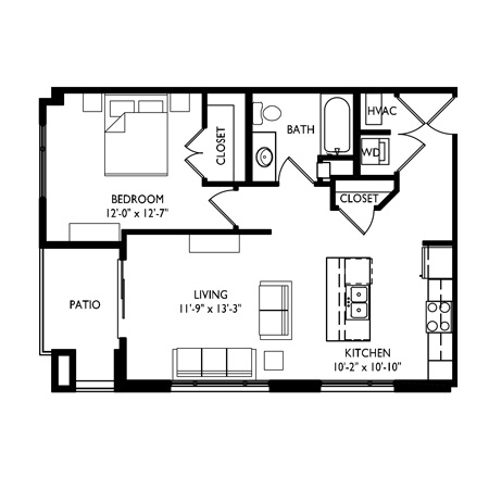 Capitol's Edge Apartments 1 Bedroom - Unit Type A1