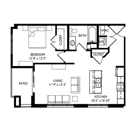 Capitol's Edge Apartments 1 Bedroom - Unit Type A1
