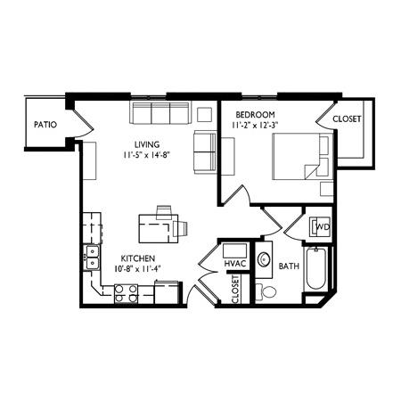 Capitol's Edge Apartments 1 Bedroom - Unit Type B