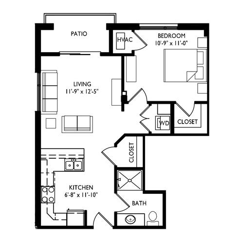 Capitol's Edge Apartments 1 Bedroom - Unit Type E