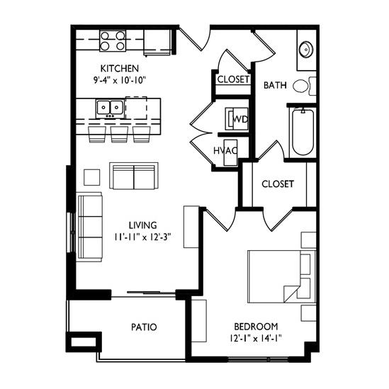 Capitol's Edge Apartments 1 Bedroom - Unit Type F