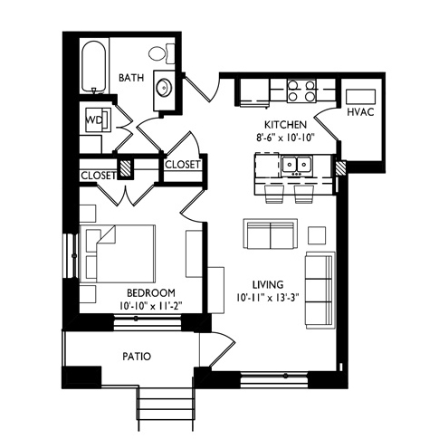 Capitol's Edge Apartments 1 Bedroom - Unit Type F1