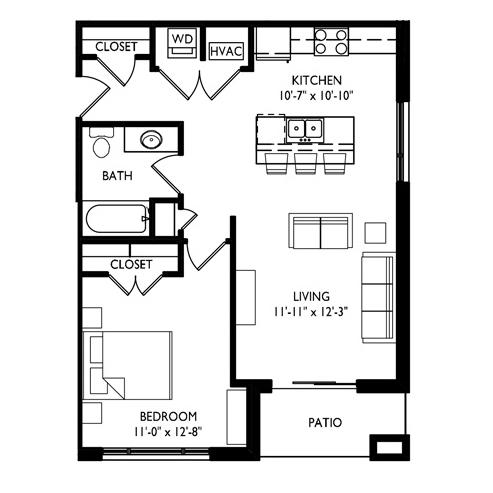 Capitol's Edge Apartments 1 Bedroom - Unit Type I