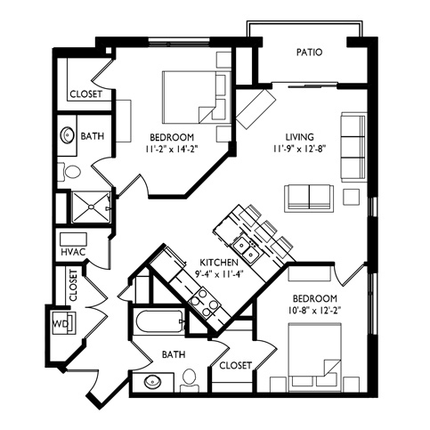 Capitol's Edge Apartments 2 Bedroom - Unit Type G