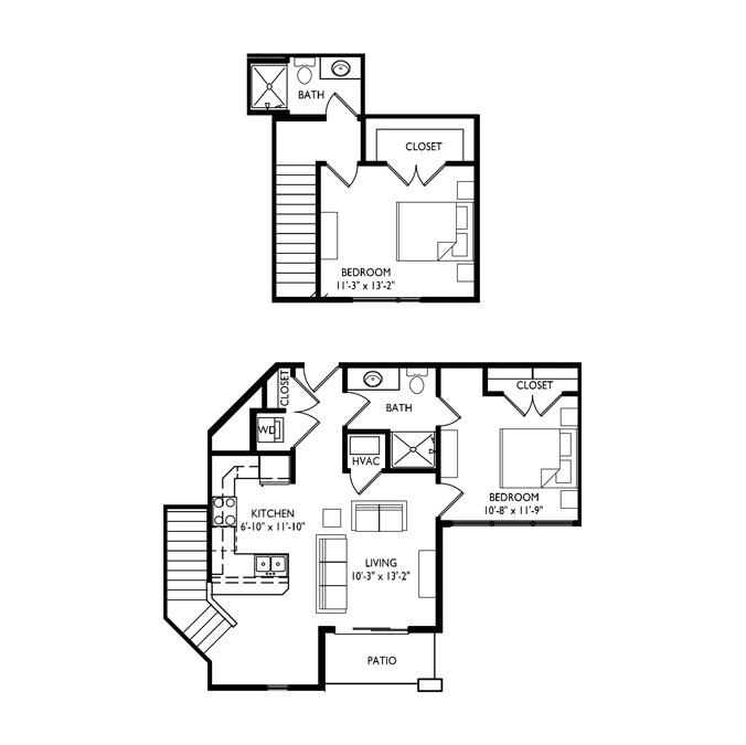 Capitol's Edge Apartments 2 Bedroom Townhouse - Unit Type M