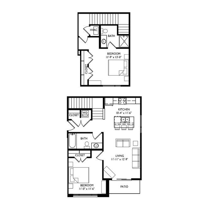 Capitol's Edge Apartments 2 Bedroom Townhouse - Unit Type P