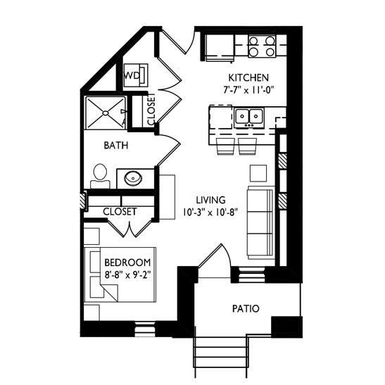 Capitol's Edge Apartments Studio - Unit Type C1