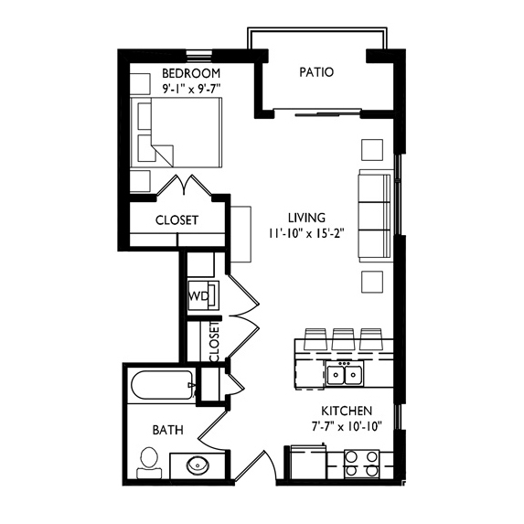 Capitol's Edge Apartments Studio - Unit Type D