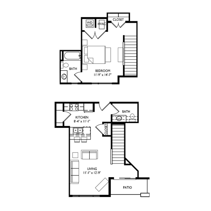 Capitol's Edge Apartments 1 Bedroom - Unit Type K