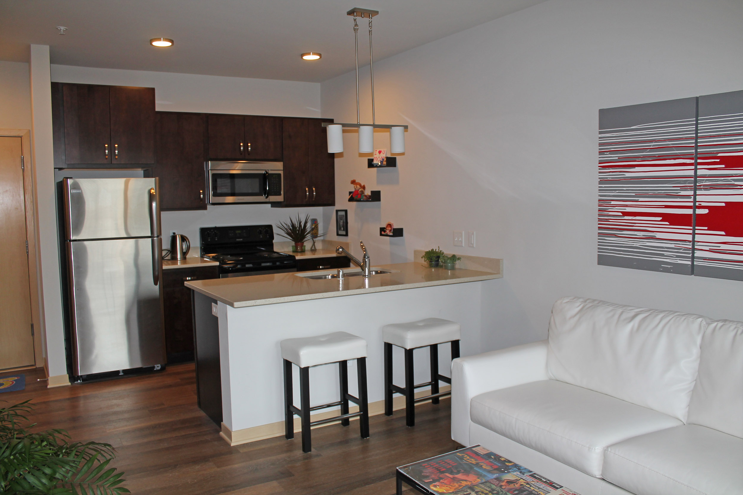 Capitol's Edge Apartments - Living Room Kitchen